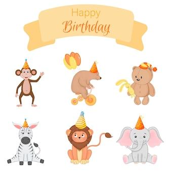 Zestaw urodzinowy z uroczymi zwierzętami. styl kreskówki. wektor.