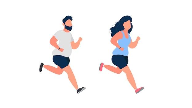 Zestaw uruchomionych grubych ludzi. gruby mężczyzna i kobieta biegną. pojęcie odchudzania i zdrowego stylu życia. odosobniony. wektor