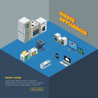 Zestaw urządzeń domowych izometryczny
