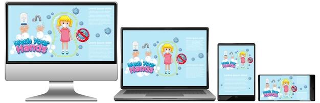 Zestaw urządzeń elektronicznych z funkcją mycia rąk na ekranie