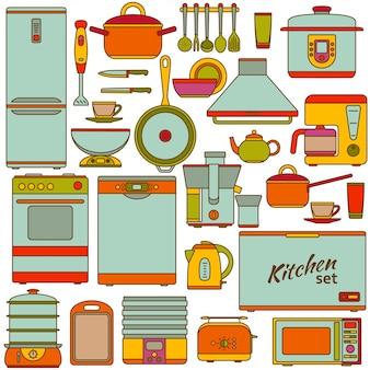 Zestaw urządzeń kuchennych. ilustracja.