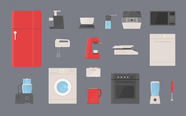 Zestaw urządzeń kuchennych. lodówka, pralka, czajnik, mikser, toster, grill elektryczny, ekspres do kawy, garnek do gotowania na parze, kuchenka mikrofalowa, młynek do kawy, zmywarka, mikser, maszynka do mięsa płaskie ilustracje.