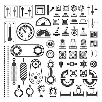 Zestaw urządzeń pomiarowych - nowoczesne wektor realistyczne na białym tle clipart na białym tle. różne przyrządy inżynierskie, urządzenia, wskaźniki, koła zębate, czujniki, mierniki wskazujące, mierniki