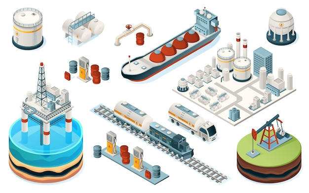 Zestaw urządzeń przemysłu naftowego na białym tle. produkcja izometryczna paliw, benzyny i benzyny. instalacja i rurociąg, platforma morska i cysterna, pociąg i ciężarówka, pompa, stacja benzynowa, zbiornik. fabryka przemysłowa