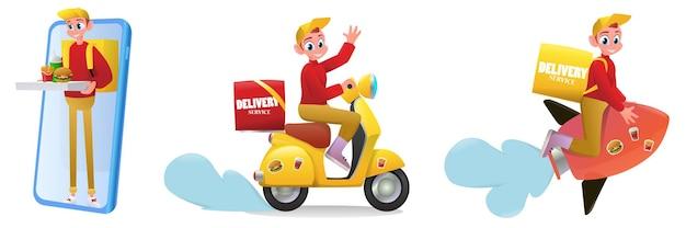Zestaw usług dostawy ilustracji kreskówka