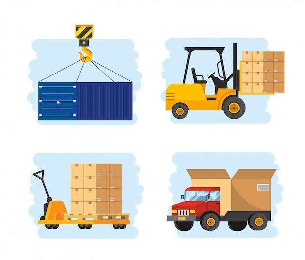 Zestaw usług dostawy z transportem wózkiem widłowym i ciężarówką