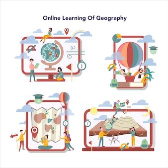 Zestaw usług edukacji online w zakresie geografii. globalna nauka badająca ziemie, cechy, mieszkańców ziemi. streszczenie nauki geografii online.