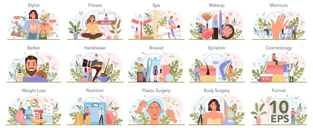 Zestaw usług kosmetycznych i zawodu. procedura w salonie kosmetycznym. manikiurzystka, wizażystka, depilacja i mistrzyni spa. fryzjer i fryzjer, fryzjer i kosmetolog. ilustracja wektorowa na białym tle