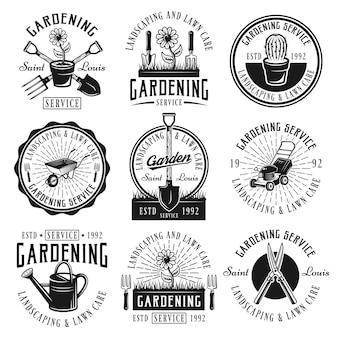 Zestaw usług ogrodniczych, kształtowania krajobrazu i pielęgnacji trawnika z czarnymi logo vintage