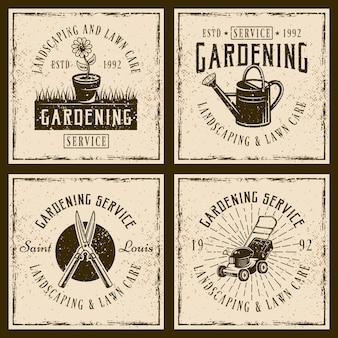 Zestaw usług ogrodniczych z czterema logo w stylu vintage