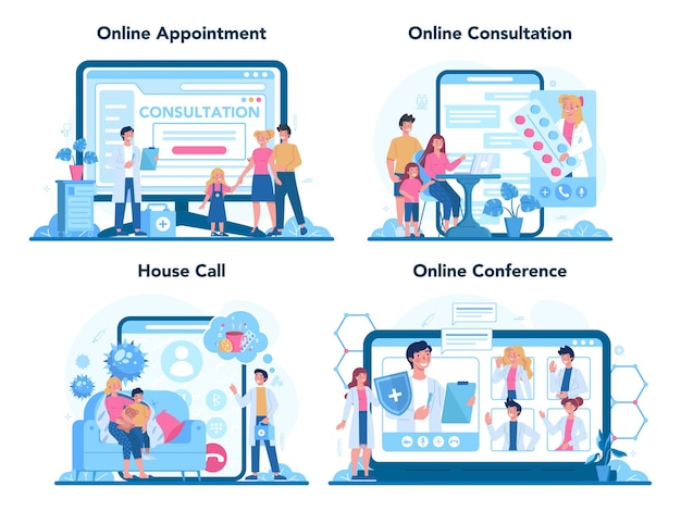 Zestaw usług online lub platformy dla lekarza rodzinnego i ogólnej opieki zdrowotnej.