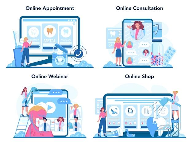 Zestaw usług online lub platformy zawodu dentysty. dentyści leczą ząb przy użyciu sprzętu medycznego.