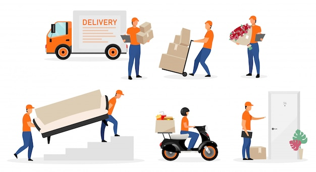 Zestaw usług pracowników dostawy płaskie ilustracje.