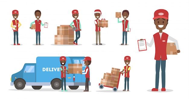 Zestaw usług szybkiej dostawy. afrykański maerican kurier w mundurze z pudełkiem z ciężarówki. koncepcja logistyczna. ilustracja w stylu kreskówki