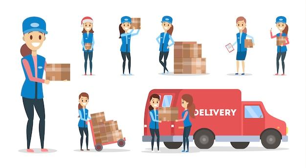 Zestaw usług szybkiej dostawy. kobieta kurierka w niebieskim mundurze z pudełkiem z ciężarówki. koncepcja logistyczna. ilustracja w stylu kreskówki