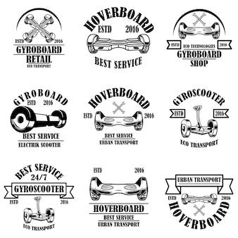 Zestaw usług żyroskopowych, sklep, herby naprawy. element projektu logo, etykieta, znak.