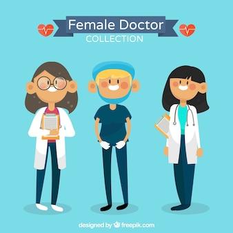 Zestaw uśmiechniętych kobiet lekarzy