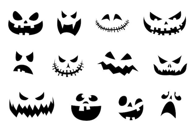 Zestaw uśmiechów halloween na dyni. śmieszne i przerażające wyrazy twarzy na halloween. ilustracja wektorowa
