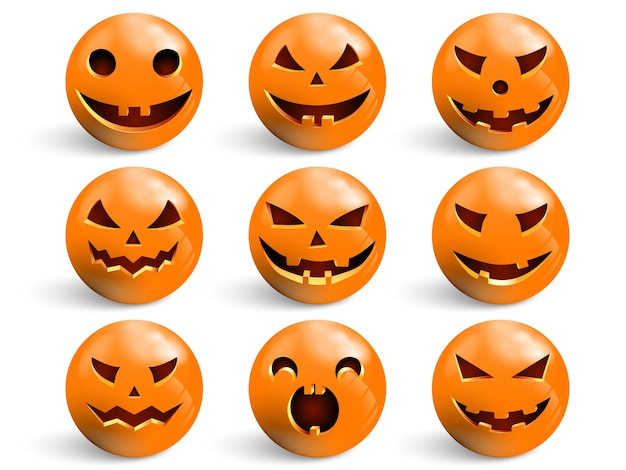 Zestaw uśmiechów na halloween.