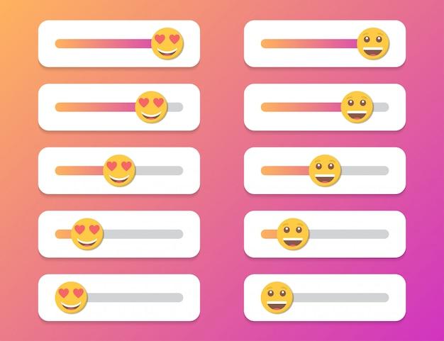 Zestaw uśmiechu suwak dla mediów społecznościowych. ilustracja