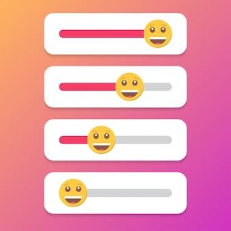 Zestaw uśmiechu suwaka dla mediów społecznościowych.