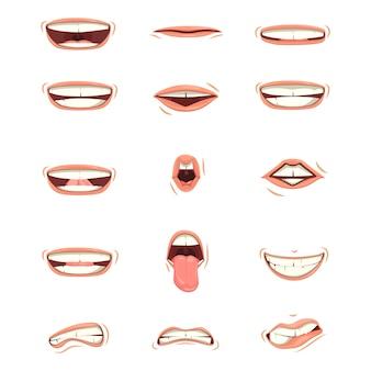 Zestaw ust dziecka lub mężczyzny wyraża różne emocje.