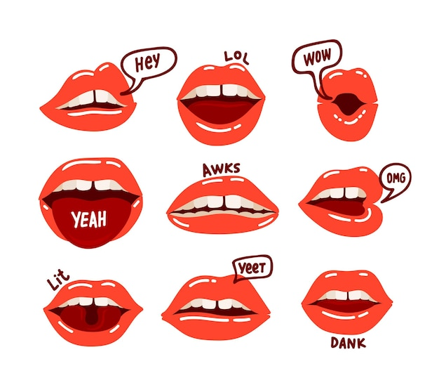 Zestaw usta kobiety. czerwone seksowne usta wyrażające różne emocje. płaskie ilustracja kreskówka