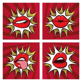 Zestaw usta sexy kobieta z splash w stylu pop-art