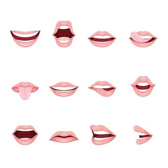 Zestaw usta z zestawem różne wyrażenia