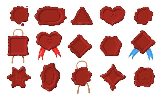 Zestaw uszczelek woskowych. ciemnoczerwone stemple o różnych kształtach, serduszko, prostokąt, koło, sześciokąt, trójkąt w stylu antycznym.