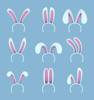 Zestaw uszy królika. wielkanocne maski w stylu kreskówki. królik i ucho królika na święta wielkanocne. ilustracji wektorowych