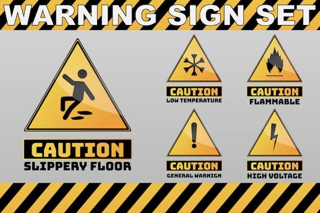 Zestaw uwaga uwaga żółty znak