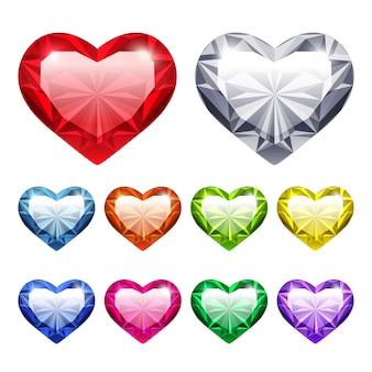 Zestaw vector gem hearts
