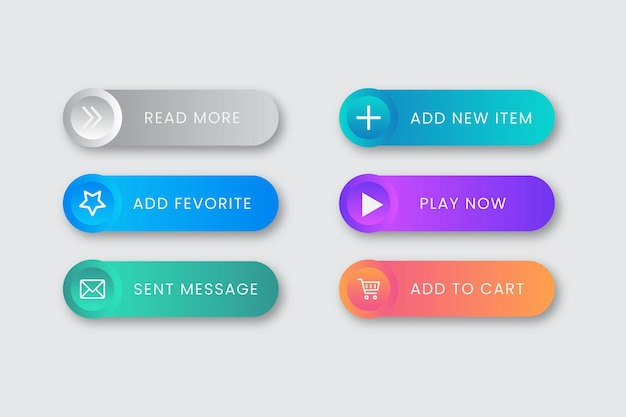 Zestaw vector gradient call to action button collection
