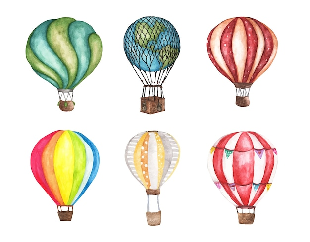 Zestaw vintage balonem na białym tle