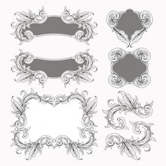 Zestaw vintage barokowy ornament przewijania ramki