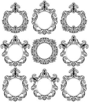 Zestaw vintage barokowy wystrój ramy. szczegółowa ilustracja wektorowa ornament