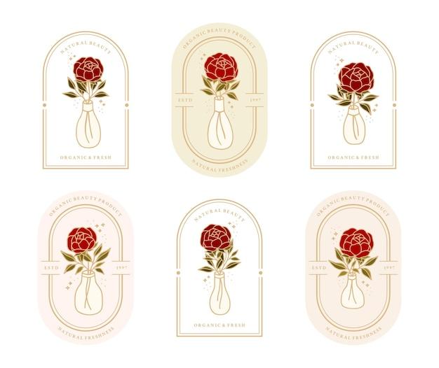 Zestaw vintage botanicznego kwiatu róży, gałęzi liścia, elementu butelki z wodą dla kobiecego logo i marki kosmetycznej