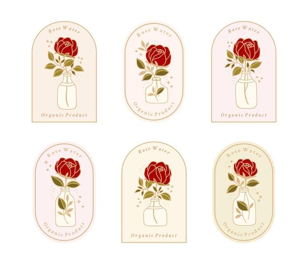 Zestaw vintage botaniczny kwiat róży, gałąź liścia, element butelki wody dla kobiecego logo i marki kosmetycznej
