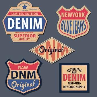 Zestaw vintage denim etykiety.