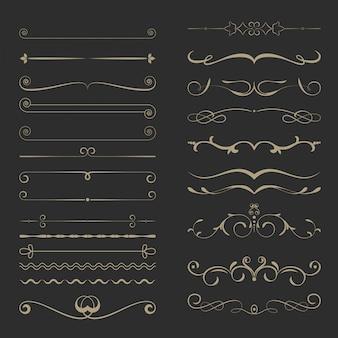 Zestaw vintage dzielniki strony kaligraficzne