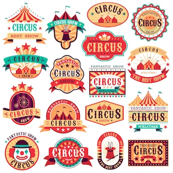 Zestaw vintage emblematów cyrkowych