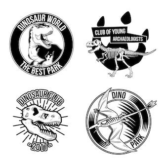 Zestaw vintage emblematów dinozaurów