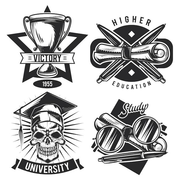 Zestaw vintage emblematów edukacyjnych