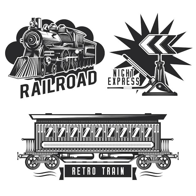 Zestaw vintage emblematów kolejowych