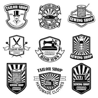 Zestaw vintage emblematów krawiecki