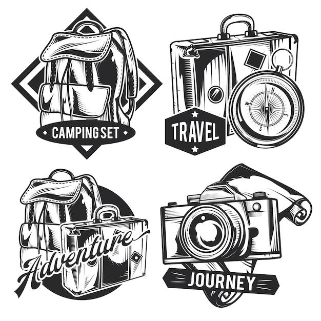 Zestaw vintage emblematów podróżniczych