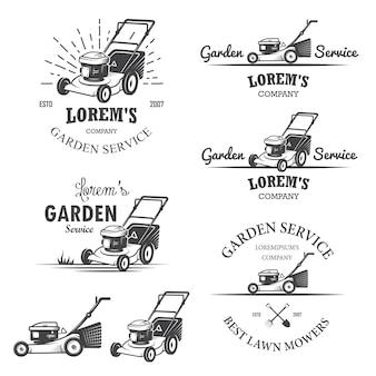 Zestaw vintage emblematy usługi ogrodnicze, etykiety, odznaki, logo i zaprojektowane elementy. styl monochromatyczny