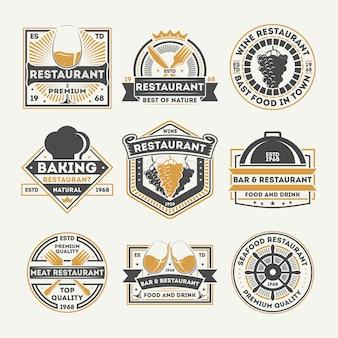 Zestaw vintage etykieta na białym tle restauracja
