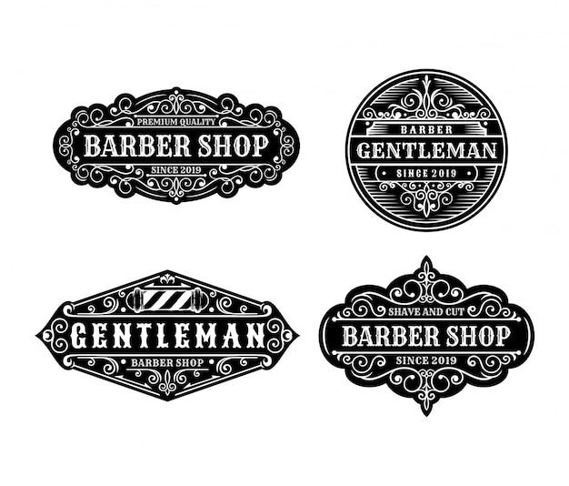 Zestaw vintage etykiety projektowe fryzjera, elementy kaligrafii i typografii w stylu projektowania